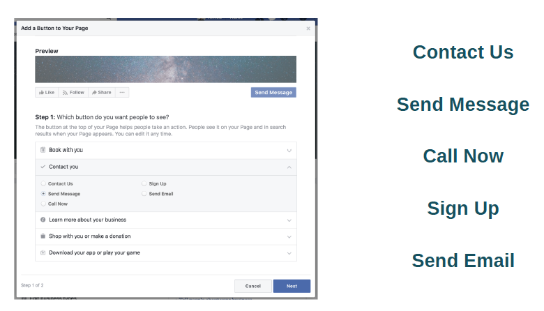 Adding a Call to Action Button on Facebook